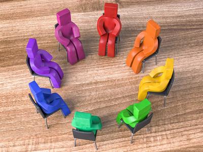 Knetfiguren Stuhlkreis Holzboden